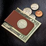 Personalized Leather Magnetic Money Clip Brown Monogram