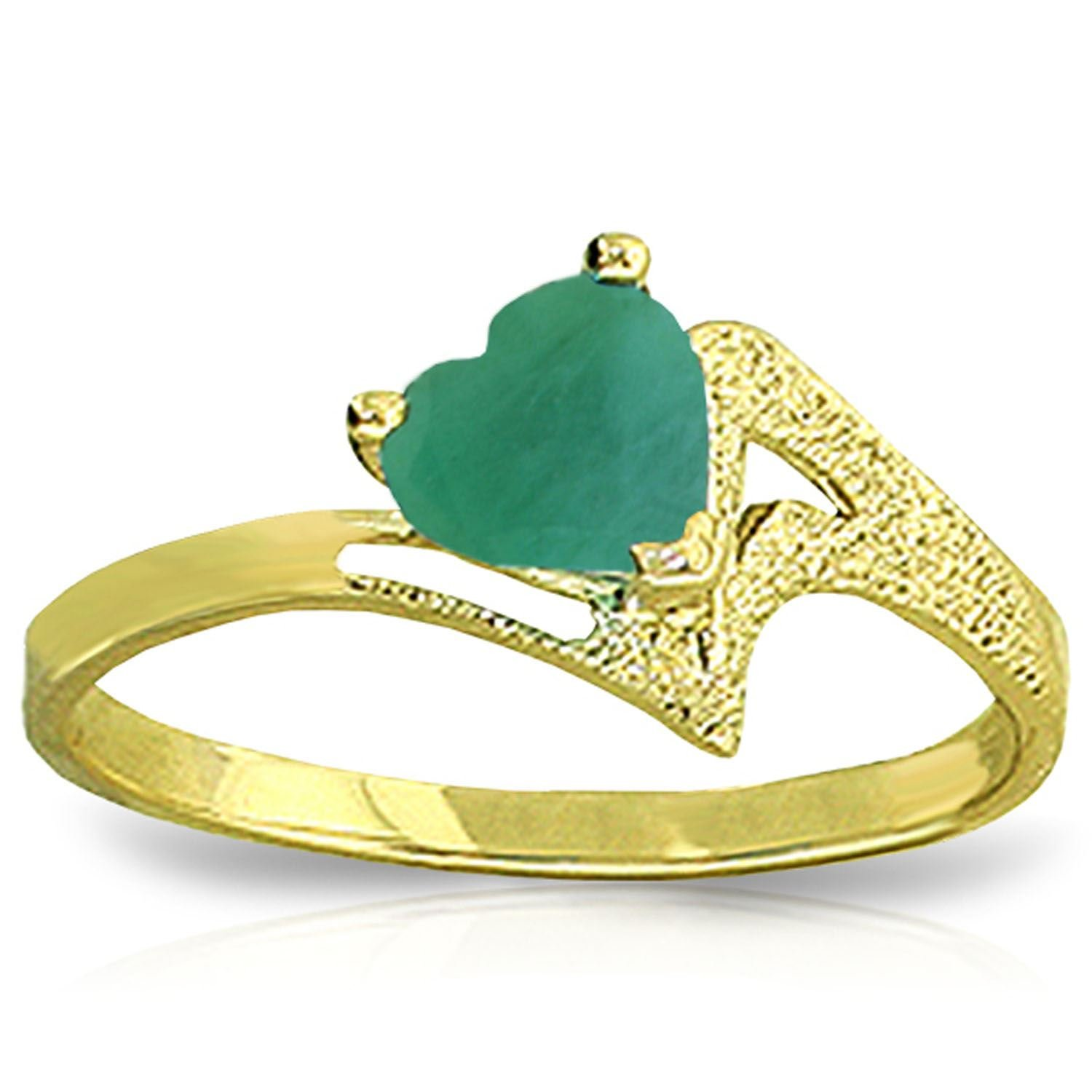 ALARRI 1 Carat 14K Solid Gold Recognize The Love Emerald Ring With Ring Size 8.5