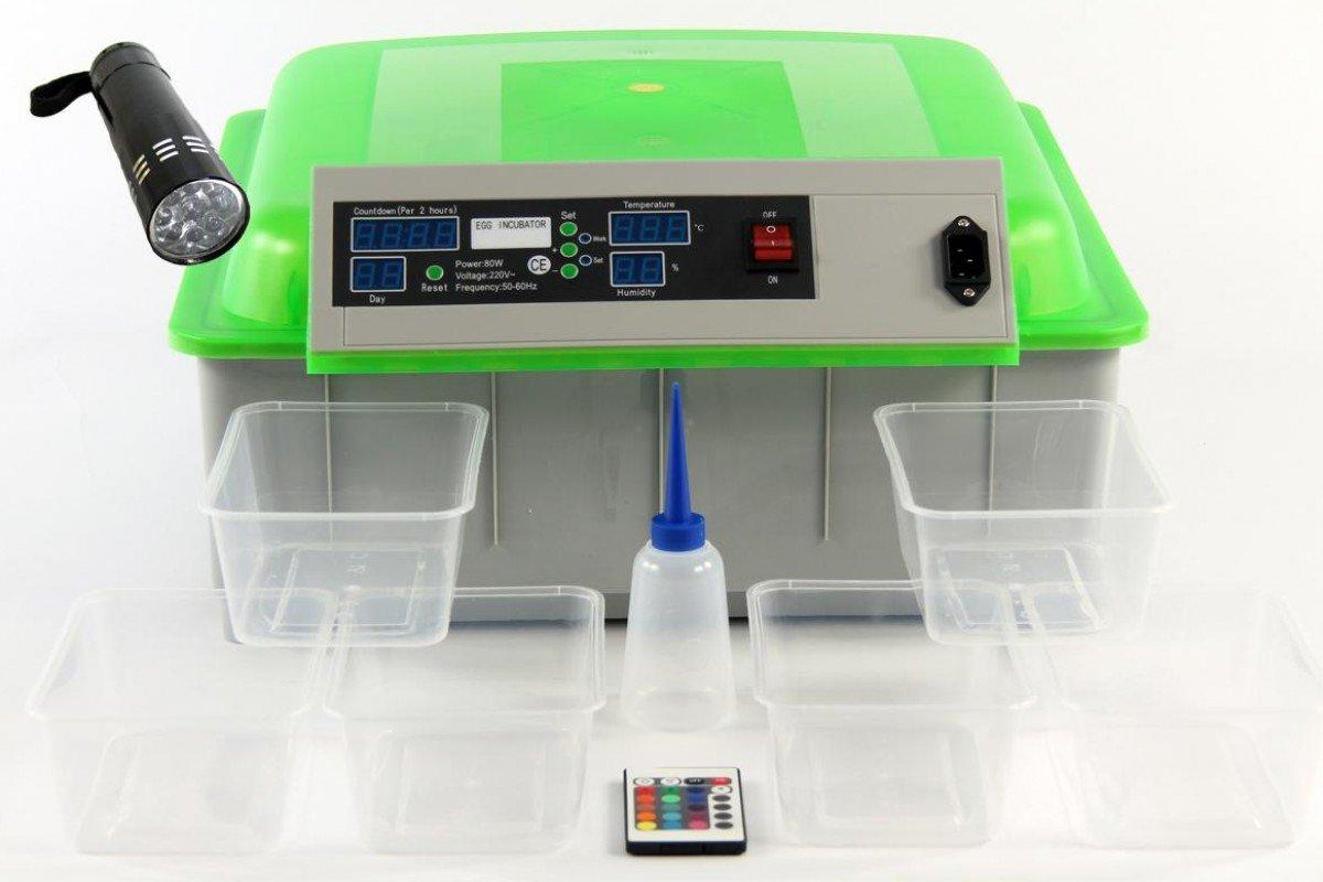 Inkubator BK48-EXOTIC, vollautomatisch, LED Innenbeleuchtung, variabler Temperaturbereich 20°-50°, Brutkasten, Brutmaschine geeignet für Hühner, Reptilien uvm