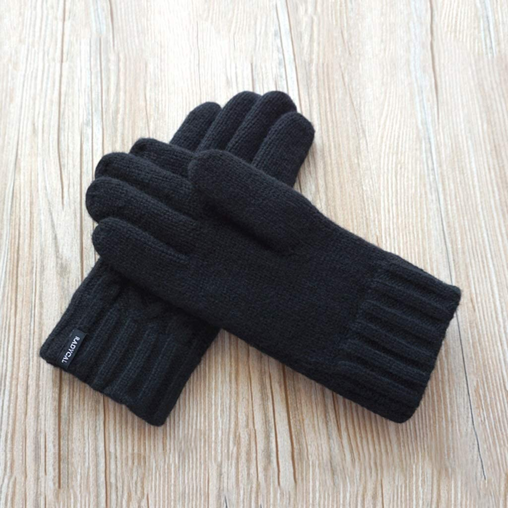 Color : Black MXD Gloves Mens Autumn and Winter Leather Simple Outdoor Windproof Warm Driving Cycling Gloves