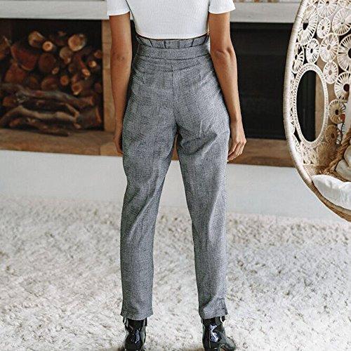 con Pantaloni pantaloni a Matita Tinta Vita Casuali Donna Unita Pulsante Larghi Pantalone MEIbax A con Alta Pantaloni Stampa Grigio Donne 51XqAfnw