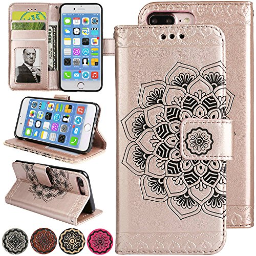 iPhone 8 Plus Leather Case, iPhone 7 Plus Wallet Case for Women [Card Slot] [Flip Magnetic] [Cash Wallet] [Kickstand for Video] [Wrist Strap] Cover for iPhone8 Plus (8Plus/7Plus 5.5inch, Rose Gold)