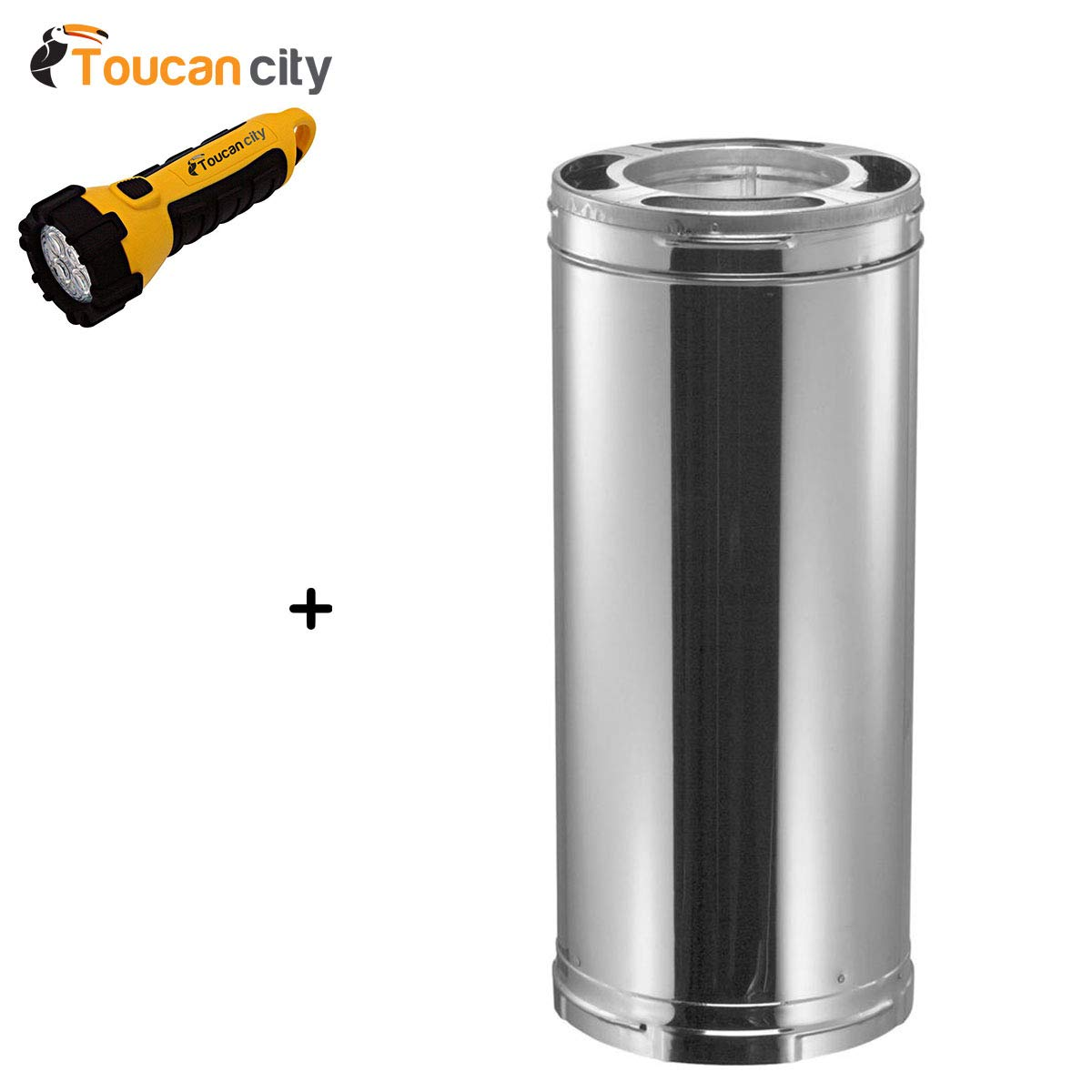 Toucan City LED Flashlight and DuraVent DuraPlus 6 in. x 12 in. Triple-Wall Chimney Stove Pipe 6DP-12