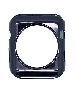 Casptpm para Apple Watch, carcasa de silicona ultrafina para iWatch, carcasa de protección chapada a prueba de golpes, antiarañazos, carcasa protectora para Apple iwatch Series 3/2/1 [42 mm] (negro)