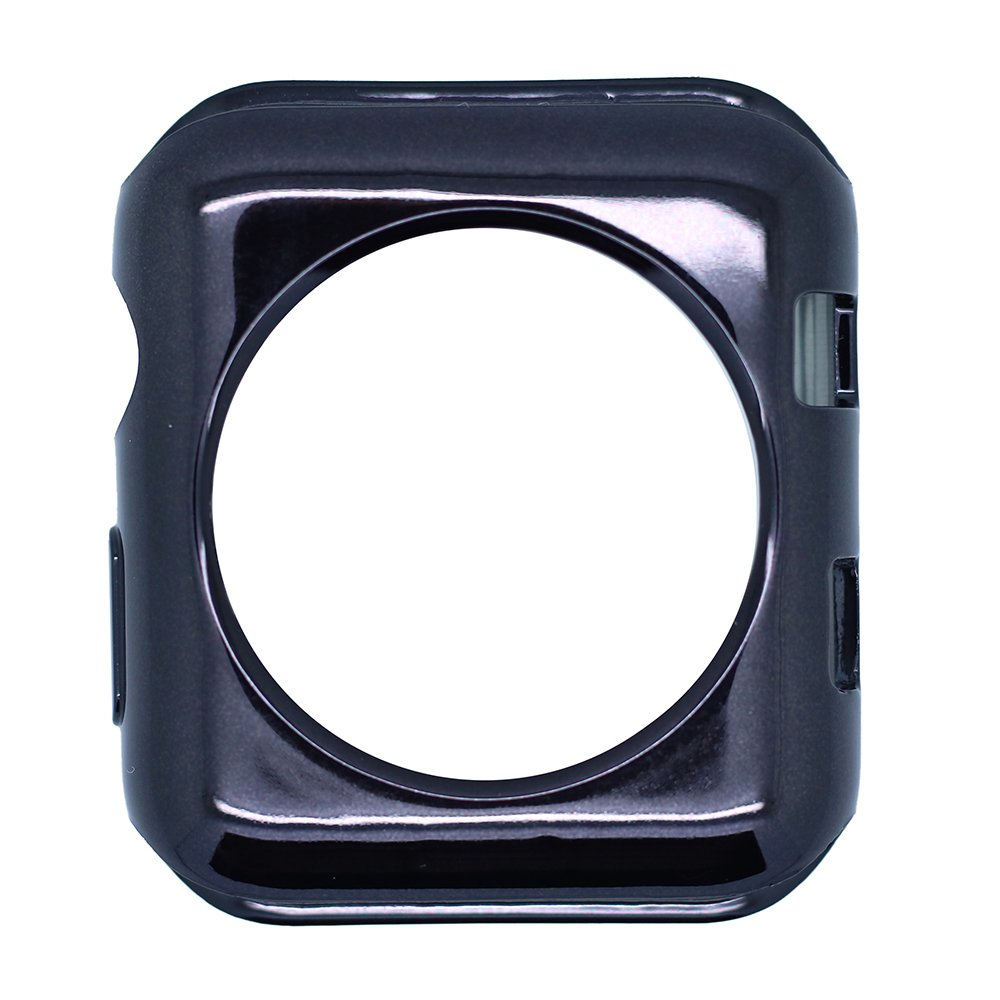 GerTong Apple Watch Case 42mm Slim Soft TPU Full Cover Case for Apple Watch Series 3/2/1/Nike+ Sport Edition 42mm (Black) by GerTong (Image #2)