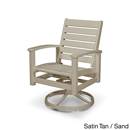 POLYWOOD Signature Outdoor Swivel Rocking Chair Sand