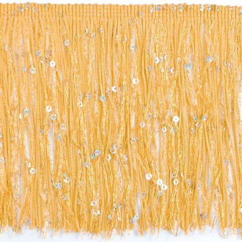 Expo International 20-Yard Starlight Hologram Sequin Chainette Fringe Trim, 6-Inch, Gold by Expo International Inc.
