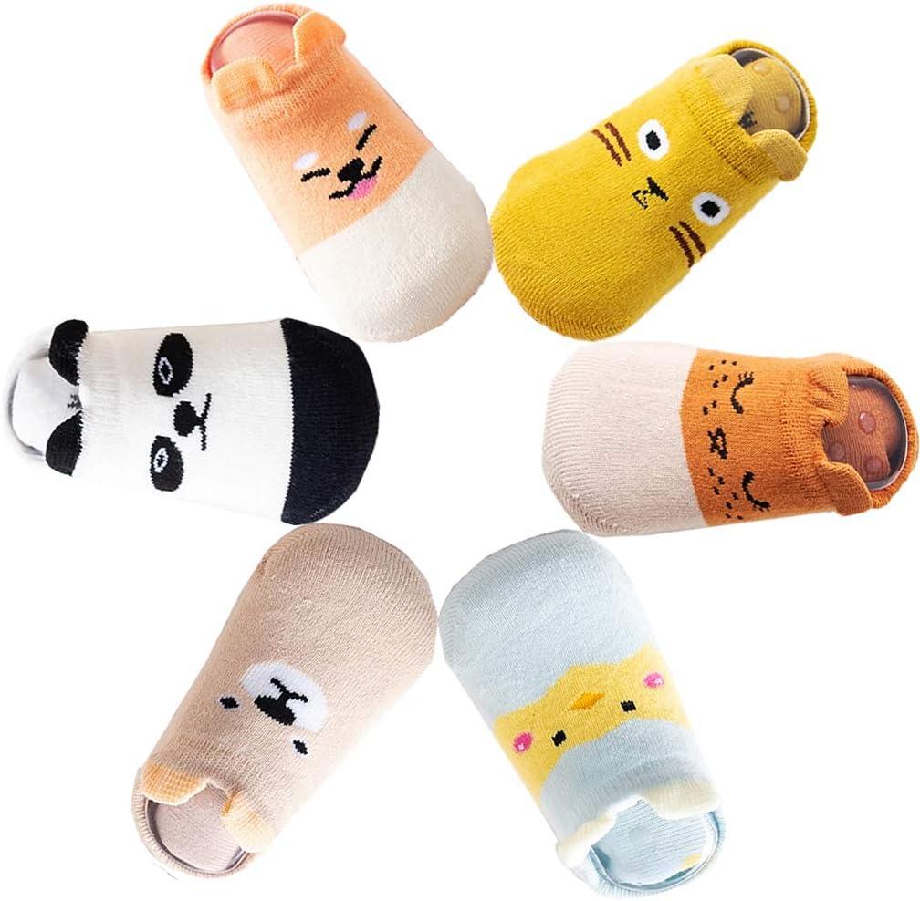 0-1 Ans Z-Chen Lot de 6 Paires Chaussettes Antid/érapant en Coton Set A B/éb/é Enfant
