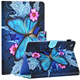 (US) iPad Mini Case, Mini 2/3 Case, Dteck Slim Fit Folio Stand Leather Case with Auto Sleep/Wake Magnetic Wallet Smart Cover for Apple iPad Mini 1/2/3 (Blue Butterfly & Pink Flower)