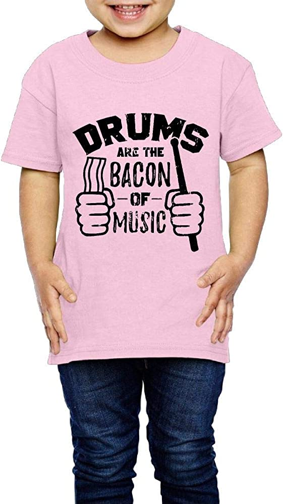 XYMYFC-E Funny Drummer Drums are Bacon of Music 2-6 Years Old Child Short Sleeve Tee Shirts