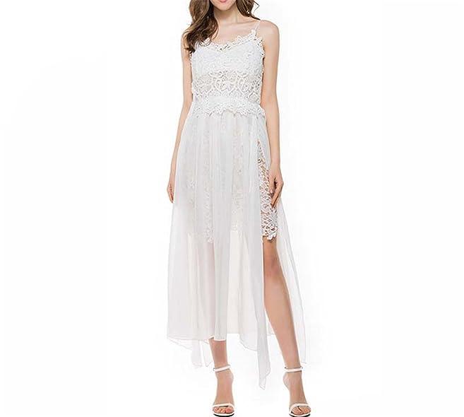 Amazon.com: Eloise Isabel Fashion dress bordado splicing praia chiffon dress plus size s-xl dividir spaghetti strap mulheres dress: Clothing