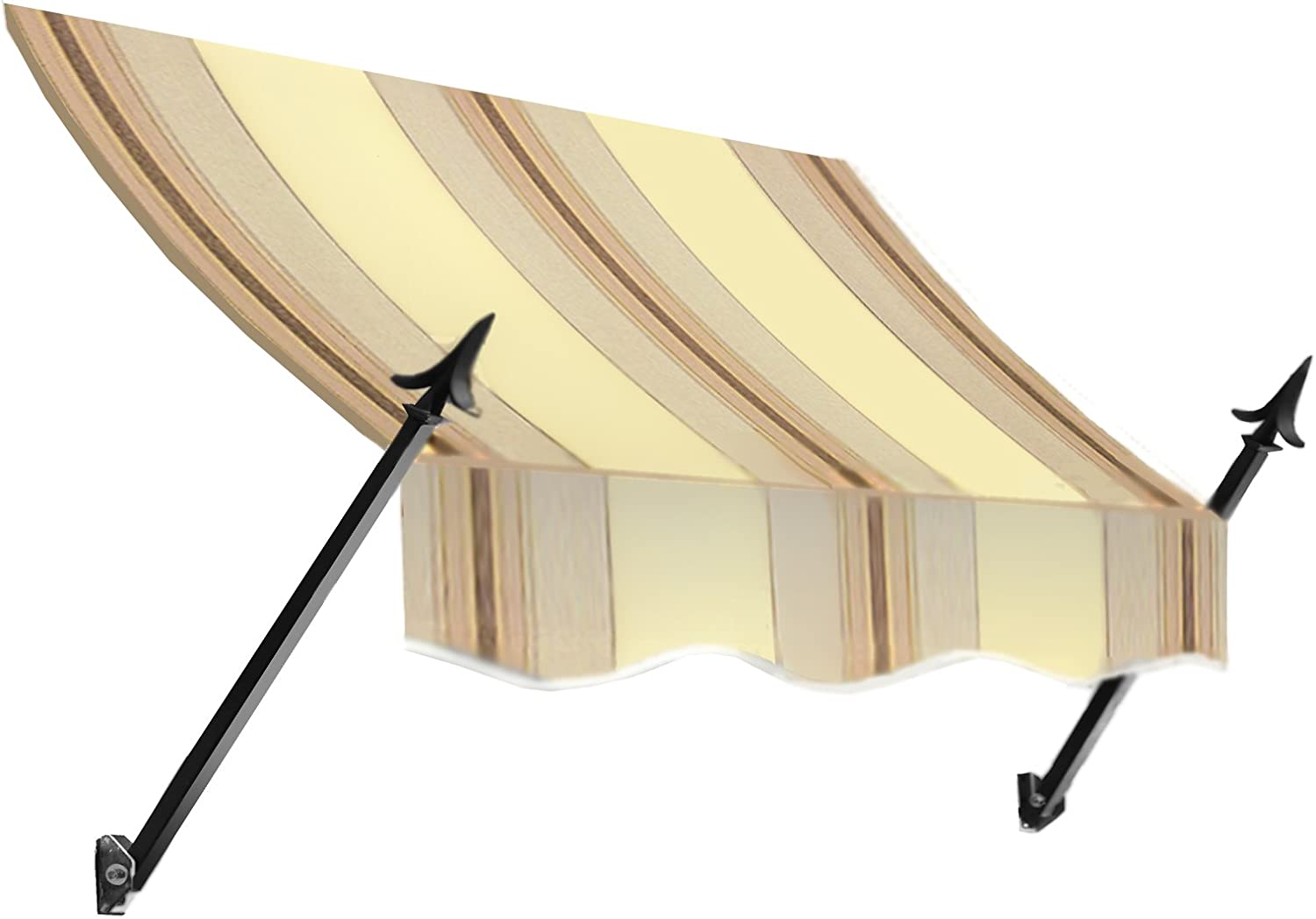 Awntech 3-Feet New Orleans Awning, 31-Inch Height by 16-Inch Diameter, Gray Cream Black