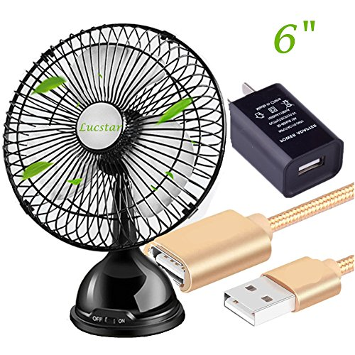 Lucstar Mini 6 Inch Personal Table USB Fan with Charger adapter 5 Feet Extension Cable, Strong Air And Quiet Sound, Cooler Laptop Desk PC For Office, Car, Home Decor