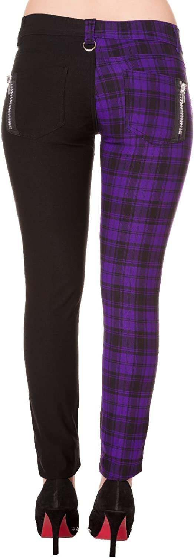 Banned Check Half Black Split Leg Skinny Jeans Trousers