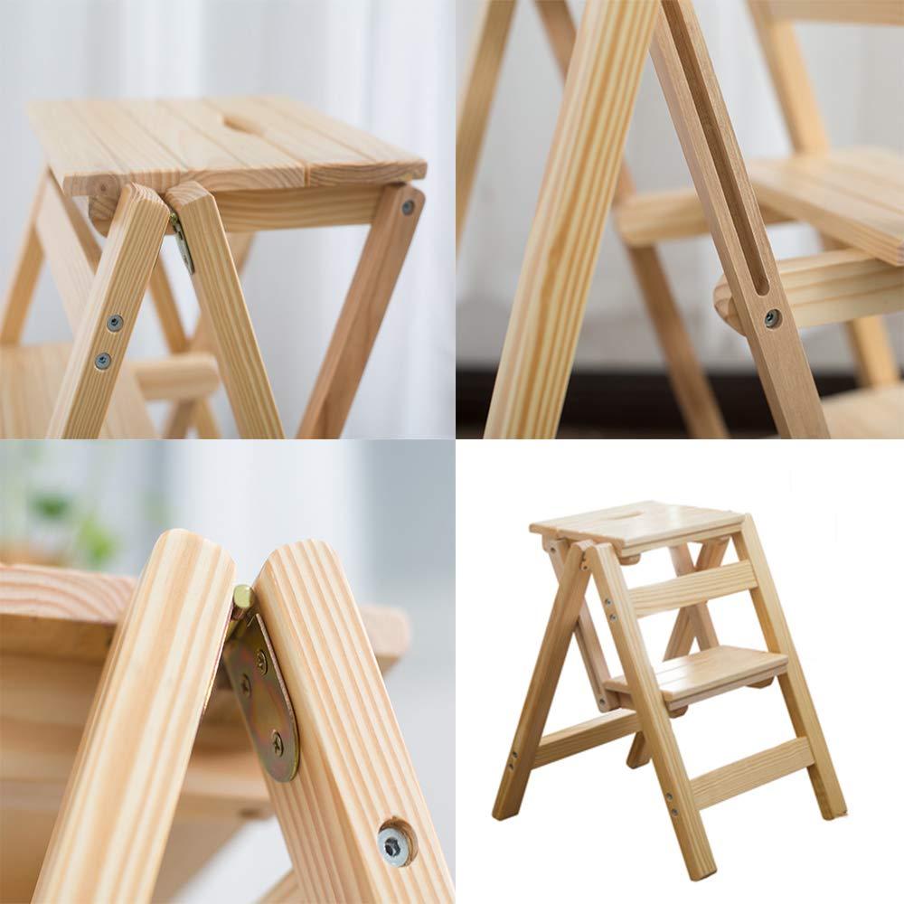 DQM Pr/áctica y Conveniente Silla de Escalera Plegable de Madera para el hogar Taburete Plegable de Madera Maciza Multifuncional se Puede Usar como Escalera y Taburete port/átil,