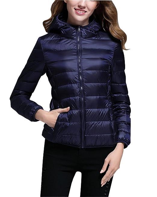 los mejores precios patrones de moda Moda ZhuiKun Abrigo de Plumas Mujer Capucha Ligero Abajo de Invierno Chaquetas  de Pluma