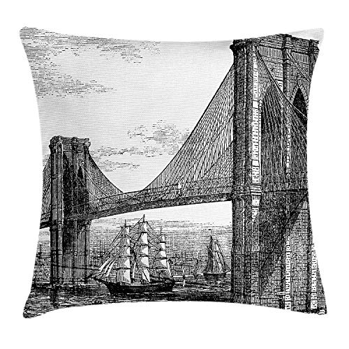 GOEUME New York Throw Pillow Cushion Cover, Pencil Drawn Art Illustration of 1890s Style Brooklyn Bridge and East River, Decorative Square Accent Pillow Case, 18 X 18 inches, Black and White ()