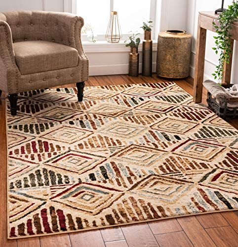 Well Woven Moroccan Diamonds Area Rug Ivory Multicolor 3×5 4×6 3'11″ x 5'3″