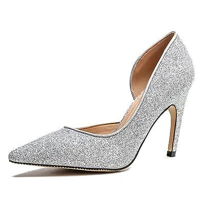 540de1ec9d4 Wedding Shoes Party Office Women s Heel Shoes Sequins Pointed Toe high Heels (Silver 36