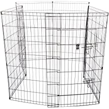 OxGord 8-Panel Folding Wire Exercise Pen Fence Gate Playpen with Door for Dog Pets, 163 x 163 x 107cm (LxWxH)