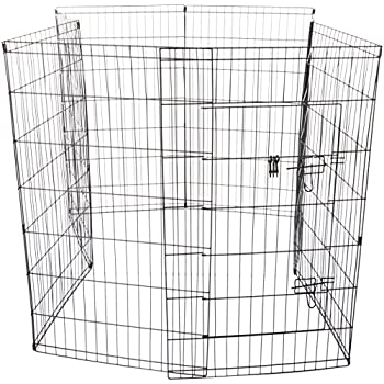 """OxGord 8-Panel Folding Wire Exercise Pen Fence Gate Playpen with Door for Dog Pets, 64 by 64 by 42"""""""