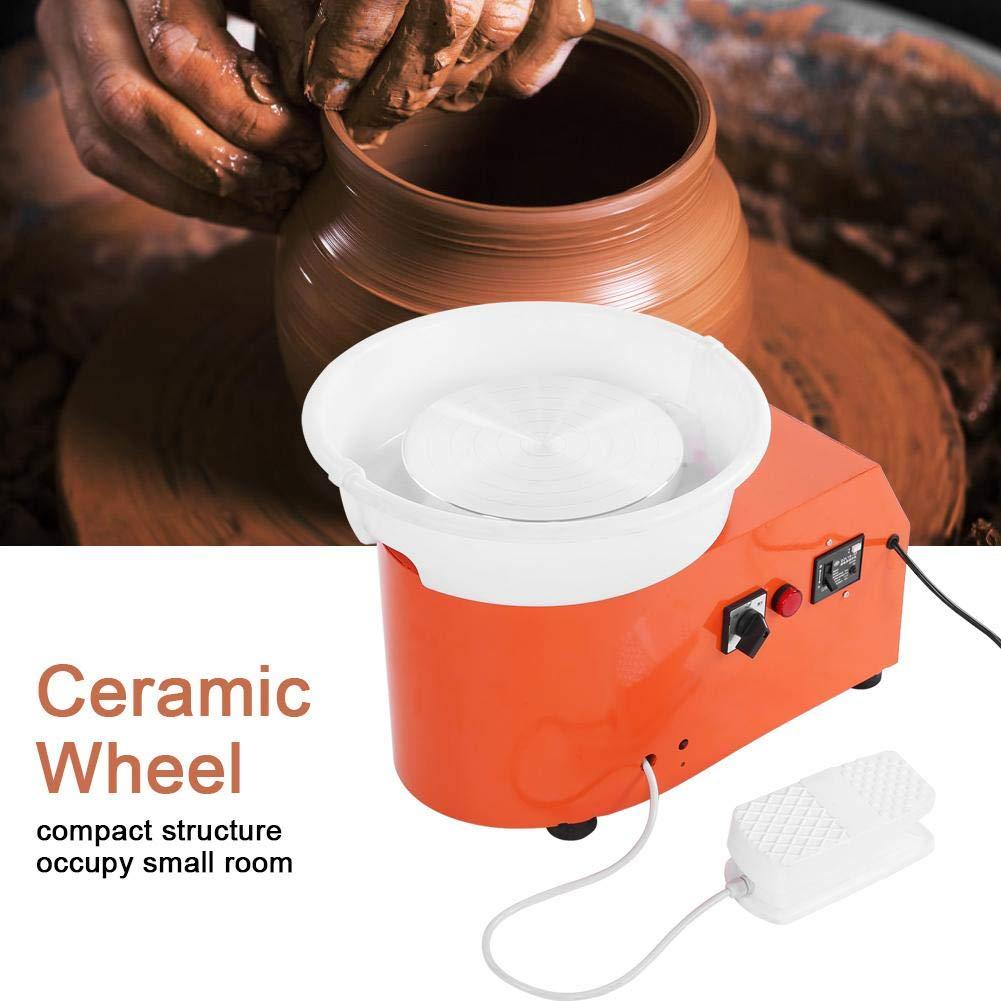 350W m/áquina el/éctrica de la rueda de la cer/ámica Herramienta que forma de cer/ámica con el pedal independiente del lavabo redondo para el hogar de la escuela Enchufe de la UE, 220V Rueda de cer/ámica