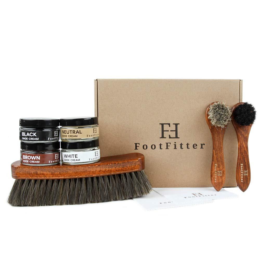FootFitter Shoe Shine Brush and Polishing Set- Cream