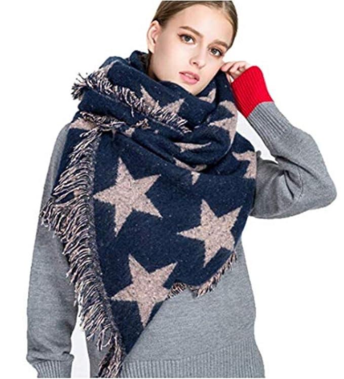 YJZQ Écharpe Femme Hiver étole Châle épais à étoile Géant Foulard avec  Frange foulards Automne Hiver Écharpe Cachemire Multicolore Unisexe Chaude  Femmes ... 86b70bb1383