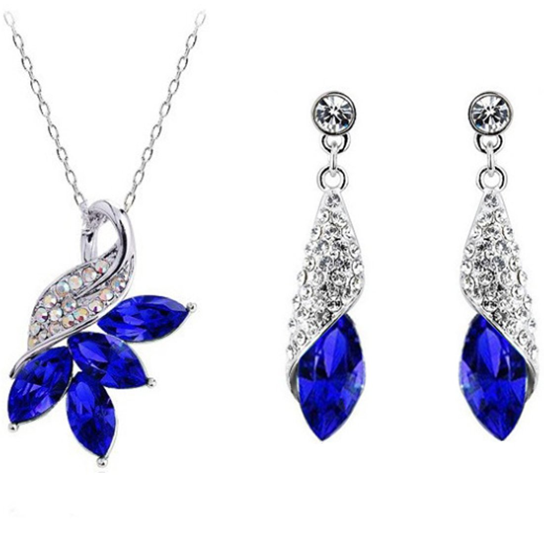MAFMO Exquisite Austria Crystal Maple Leaf Necklace Earrings 2pcs Jewelry Set (Royal Blue)