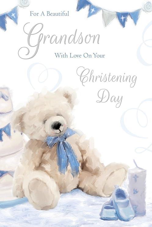 Nieto de bautizo día Tarjeta de felicitación - oso y azul ...