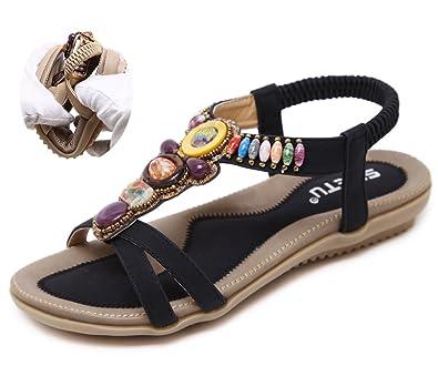CCZZ Women s Round Peep Clip Toe Bead Elastic T-Strap Bohemia Roman Sandals  Flat Heel de2591ca38d3