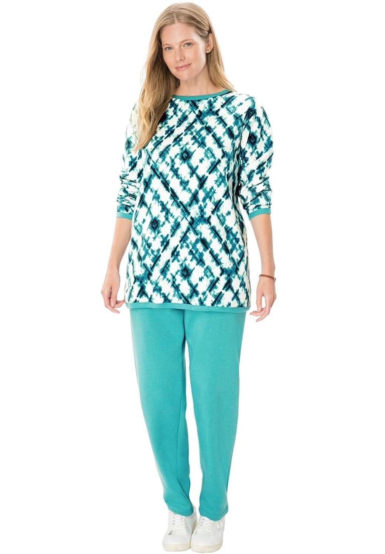 Women\'s Plus Size Petite Fleece 2-Pc Sweatsuit at Amazon Women\'s ...