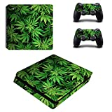 MightyStickers - Marijuana Pot Leaf PS4 Slim Console Wrap Cover Skins Vinyl Sticker Decal Protective for Sony PlayStation 4 Slim & Controller