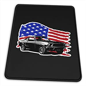 Muscle Car with American Flag Mouse Pad, Non-Slip Rubber Mouse Mat Cute Gaming Mousepads for Laptop and Computer 10x12x0.12inch