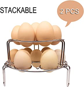 Egg Cooker Steamer Rack Basket Stand Pressure Cooker Multifunction Stackable Steaming Rack Stainless Steel 304 IP Instant Pot Trivet Kitchen Food Vegetable Cooking Gadget 2 PCS