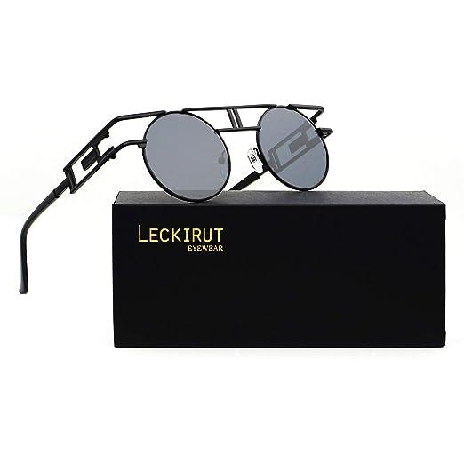973d7ef71343 Leckirut Women Men Round Sunglasses Retro Vintage Steampunk Style Mirror  Reflective Circle lens black frame/