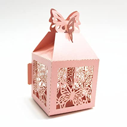 Imported 50pcs Butterfly Sweets Candy Gift Boxes Wedding Party Baby Shower Favor Pink