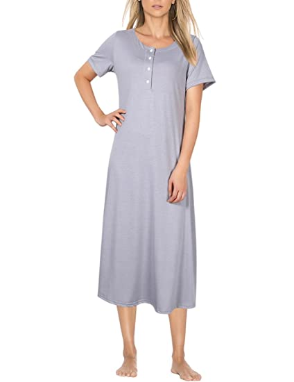 Coolmee Women s Knit Cotton Long Sleeve Nightgown for Women Long Henley  Sleep Dress (S f244905e4