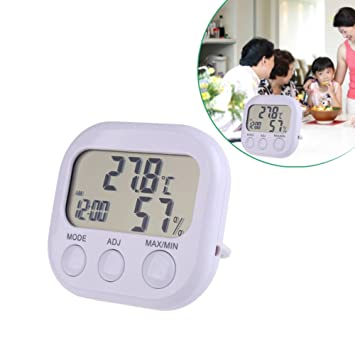 domybest termómetro lcd digital higrómetro reloj temperatura Indicador de medición de la humedad: Amazon.es: Coche y moto