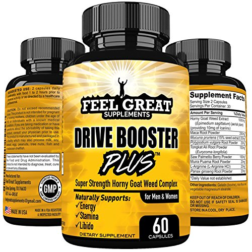 DRIVE BOOSTER PLUS Horny Goat Weed Extract 1000mg Epimedium Super Potent Natural Energy Stamina Focus Libido for Men and Women with Maca Ginseng Saw Palmetto L Arginine Icariins Muira Puama & More
