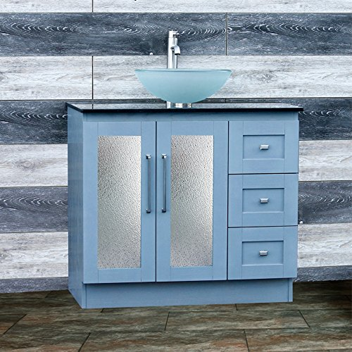 36'' Bathroom Solid wood Vanity Cabinet Black Granite Top Vessel sink B3621GL-BK12F by ELIMAX'S