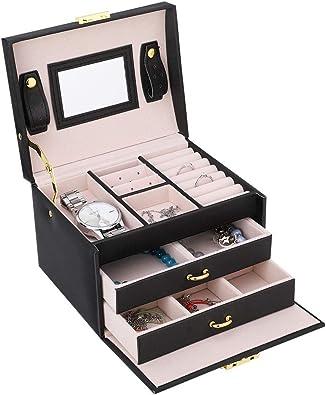 Joyero Caja de Almacenamiento 3 Capas Estuche para Almacenamiento de Joyas Anillos Pendientes Caja Joyero para Anillo Pulsera Reloj 17 x 14 x 13cm (Negro): Amazon.es: Joyería