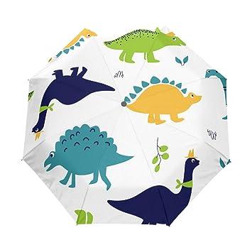 leisisi dibujos animados dinosaurios 3 Folds Auto Abrir Cerrar paraguas