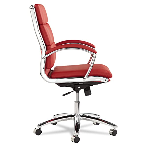Alera ALENR4239 Neratoli Series Mid-Back Swivel/Tilt Chair, Red Soft Leather, Chrome Frame