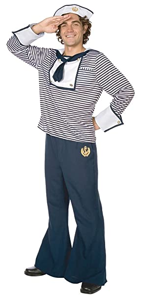 Karneval Klamotten Kostüm Matrose Herr blau-weiß Karneval Marine Herrenkostüm