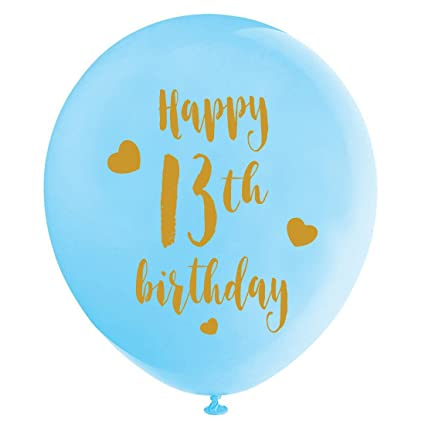 Blue 13th Birthday Latex Balloons 12inch 16pcs Boy Gold Happy Party