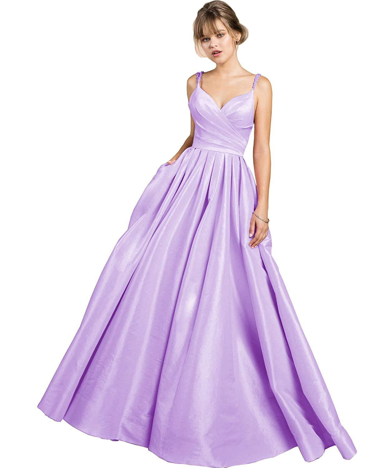 7a92ccbedb4d3 purplec Yilis Women's Beaded Spaghetti Straps V Neck Satin Aline Evening  Prom Dress Long Formal Gown