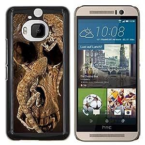 EJOOY---Cubierta de la caja de protección para la piel dura ** HTC One M9Plus M9+ M9 Plus ** --Cráneo profundo de la naturaleza animal de Brown