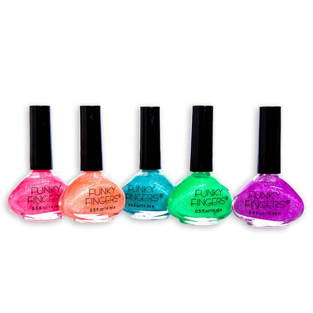 Amazon.com: Funky Fingers Nail Polish Glitter Collection 5 Count 0.5 ...
