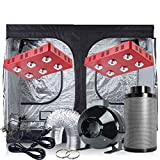 TopoGrow LED Grow Tent Complete Kit 2XLED 1200W COB LED Grow Light Kit +120''X60''X80'' Indoor Grow Tent + 8'' Fan&Filter&Ducting Combo Hydroponics Tent System (LED1200W COB, 120''X60''X80''+8'')